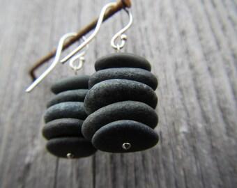 Black Sea Pebbles Earrings with Silver Earring Hooks. Simple and Elegant.