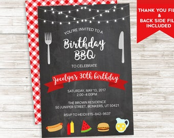 Birthday BBQ Invite Invitation Digital Picnic Cookout Summertime Backyard 5x7 Personalized ANY AGE