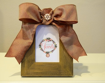 Distressed Wood Picture Frame Gold 4x6