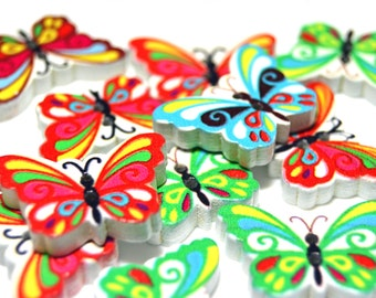 Butterfly shaped buttons, butterfly wooden buttons, coloured butterfly buttons, colourful butterfly buttons