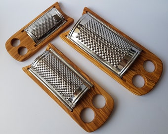 Cheese Grater Flat / Olive Wood Parmesan Grater - 3 Different Sizes (grater is made in Italy - Inox, Stainless steel)
