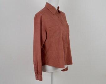 Vintage Cotton Blouse  |  Vintage Rust Blouse  |  Rust Button Down Shirt