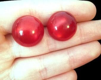 Red Earrings - Red - Screw Back Earrings - Vintage - Clip on Earrings - Earrings - Gift for Wife - Ruby Red - Antique Jewelry - Jewellery