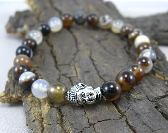 Beige bracelet Buddha and coffee agate agate Brown