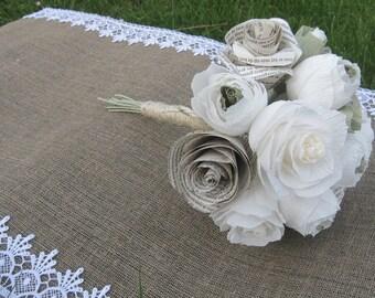 Rustic Bride IVORY WEDDING PAPER bouquet crepe paper flowers