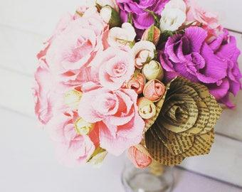 Pink Rustic Ivory Wedding Bouquet, crepe paper flowers, handmade,