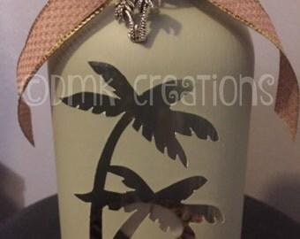 Palm Tree Painted Mason Jar Tea Light Candle Holder, palm tree, painted mason jar, mason jar, tree,tea light candle, gift, candle holder
