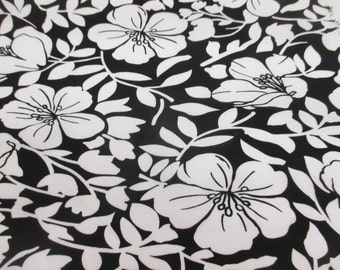 """Black with White """"Blossom Petals"""", Floral Cotton/Spandex Dress Fabric."""