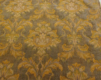 Grey/Green & Gold Baroque Italian Made Chenille Fabric. (Simply exceptional)