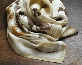 ANNE KLEIN floral motif silk scarf in brown, white and cream - designer, original, genuine