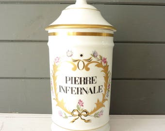 Vintage French Limoges porcelain pharmacy jar with lid.
