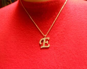 Silver Tone Chain Necklace with Diamond Crystal CZ Letter E