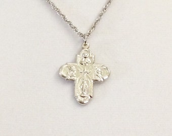 "Vintage Italian five way cross, religious cross, Miraculous Medal cross, rhodium plated cross, 1 3/16"" lg medallion"