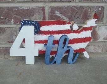 4th of July Decor, Map of USA July 4th