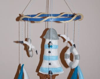 Nautical baby mobile, lighthouse, sailboat, ship wheel, anchor Made to order