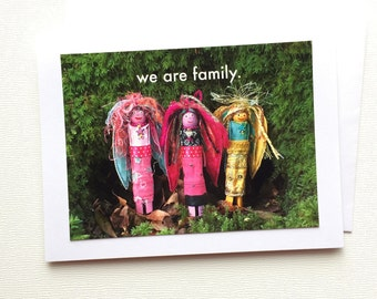 Worry Doll Notecards,  Handmade Stationery Note Cards, Angel Notecard - We Are Family Angel Card, Gift for Her