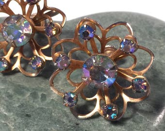 Vintage Rhinestone Earrings, AB Earrings, Aurora Borealis Earrings, Vintage Sparkle and Shine