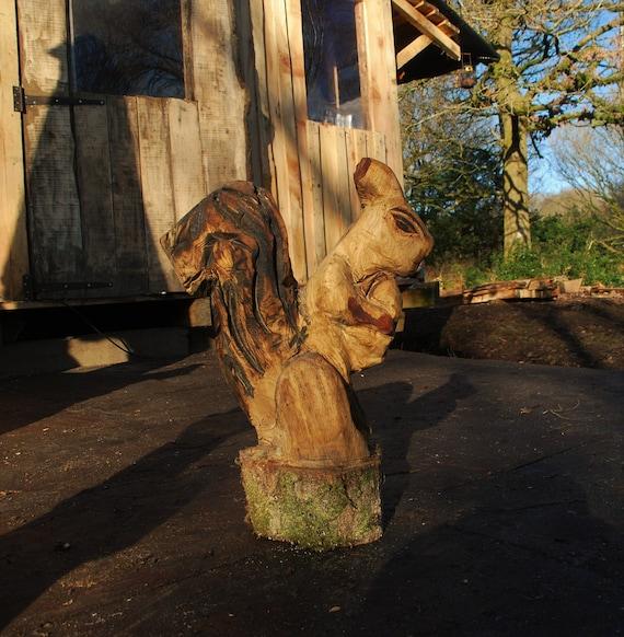 Chainsaw carved sculpture oak squirrel