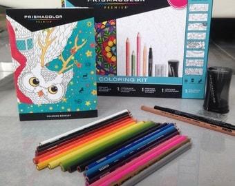 Prismacolor Colored Pencil set, adult coloring book, coloring kit, 25 piece prismacolor kit