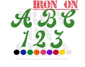 Letter and Number Vinyl Iron ons, Cursive (multiple sizes and colors)