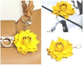 2 in 1 : Tabletop Purse HANGER + Yellow Flower BAG CHARM | Real Leather Yellow Rose Handbag Charm Folding Table Purse Holder Hook key chain