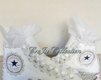 Bridal Converse, Pearl Converse, Bling Converse, Wedding Converse, Etsy Wedding, Custom Converse, Rhinestone Converse, Beaded Converse