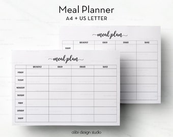 Meal Planner, Planner Printable, Weekly Meal Planner, Meal Planning, Meal Organizer, A4 Inserts, Meal Plan, A4 Binder, Meal Tracker