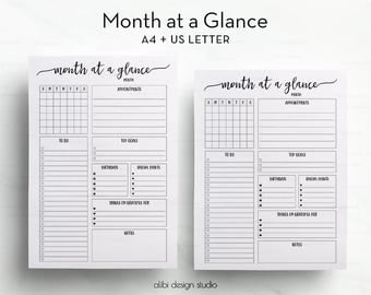 Month at a Glance,  A4, Letter, Monthly Planner, Daily Planner, Monthly Printable, Monthly organizer, A4 Binder, A4 Printable