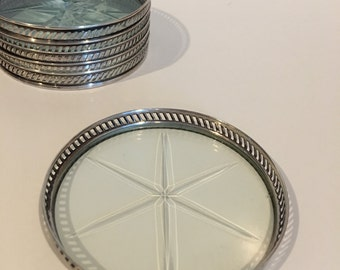Antique Sterling Silver Crystal Coasters