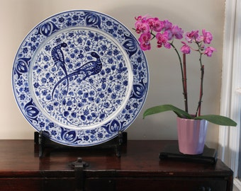 Vintage Royal Delft Factory Blue and White Charger Unusual Persian Style Decoration Birds and Flowers
