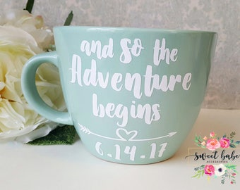 And So The Adventure Begins Mug, And So The Adventure Begins Engagement Gift, Wedding Date Gift, Mrs. Gift, And So The Adventure Begins, Mug