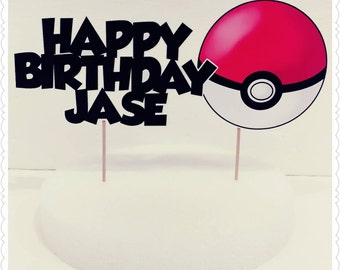 Pokemon--Inexpensive Personalized Cake Toppers with Name & Character--Kid's Birthday Party Decorations