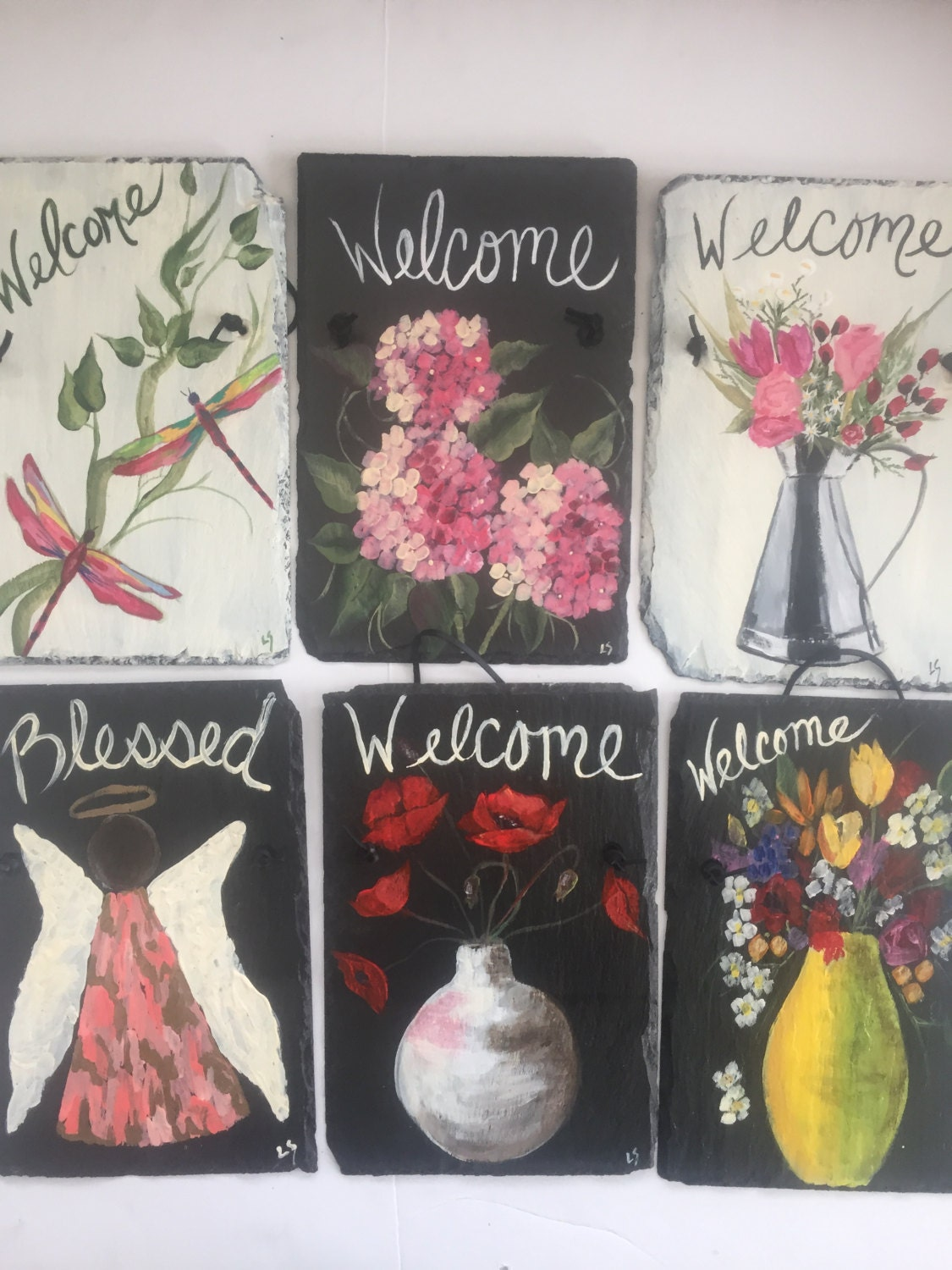 slate welcome signs, 12 x 8 painted slate, garden signs, welcome