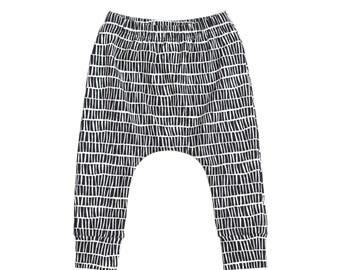 harem pants,  monochrome harem pants, black and white harem pants, children's pants, gender neutral leggings