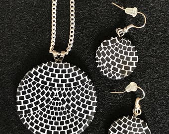 Black and White Patterned Polymer Clay Necklace and Earring Set