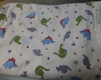 Pottery Barn Kids Dinosaurs double flat sheet with 1 standard pillow case cutters diy crafters