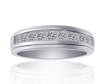 0.90 Carat Princess Cut Diamond Wedding Band 14K White Gold