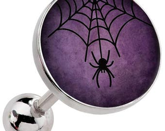 Purple Spider Web Surgical Steel Cartilage Earring Image 163