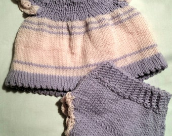 Hand Knit Baby Dress and Diaper Cover 0-3