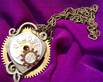 Steampunk gears and parts necklace pendant  handcrafted