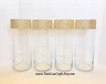 Set Of 4 Rhinestone Cylinder Vases, Wedding  Centerpieces,Candle Holder, Baptism Centerpieces, Sweet 16 Centerpieces.