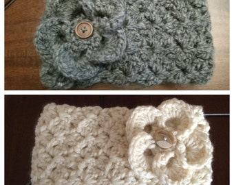 Cozy Headband/Ear-warmer with Flower - Various Colors