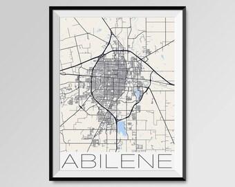 ABILENE Texas Map, Abilene City Map Print, Abilene Map Poster, Abilene  Map Art, Abilene gift, Custom city maps, Personalized maps, Texas