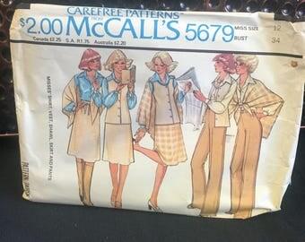Uncut Pattern, Vintage Sewing Pattern, Vest Pattern, McCall's Pattern 5679, 1977 Separates, Carefree Patterns, Size Miss 12 Bust 34, Vintage