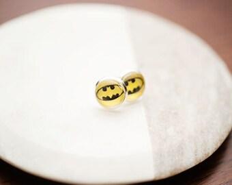 Stud earrings, batman earrings, stud earrings, graphic earrings