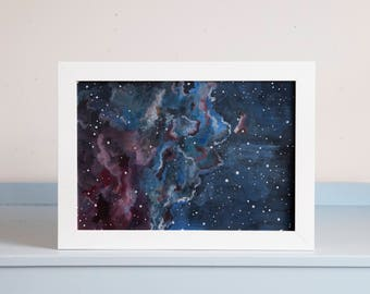 Colourful Space and Galaxy Giclée Print- Illustration A4