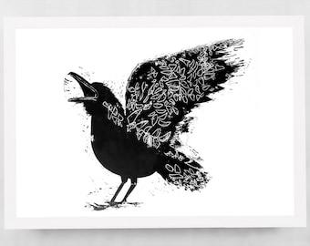 Black Raven. Art print.  Linocut / hand printed