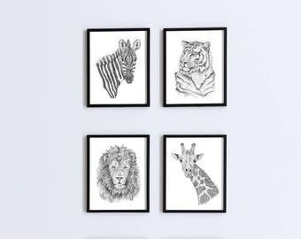 Jungle Nursery Art, Set of 4 Prints, Jungle Nursery Decor, Jungle Wall Art, Jungle Animal, Zebra Nursery, Giraffe Nursery, Nursery Wall Art