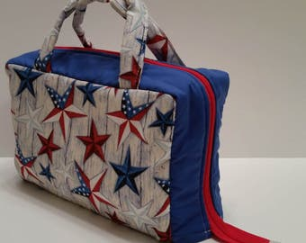 Patriotic Stars Lunch Tote Opening Into a Tray.