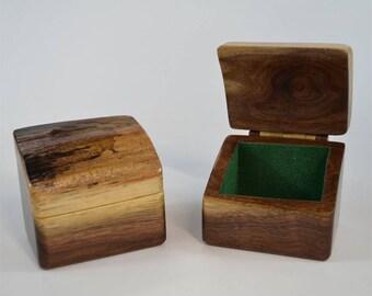 Live-edge, flip-top walnut box